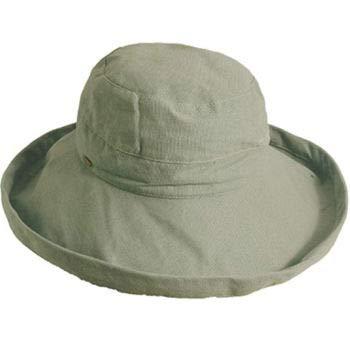 Scala Women's Medium Brim Cotton Hat, Olive, One Size ()