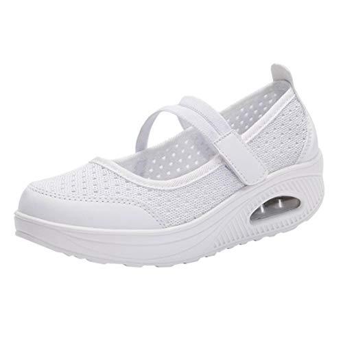 Women's Bottom Cushion Air Rocking Thick Platform Comfortable Shoes Casual FALAIDUO Mesh Shoes Autumn Shoes Shoes White vPfgqp