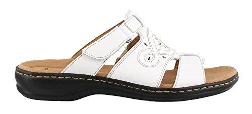 Clarks Women's Leisa Higley Slide Sandal, White Leather, 7 M US
