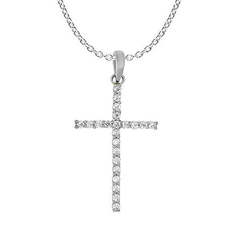 0.12 cttw 10k White Gold White Diamond Ladies Dainty Cross Pendant Necklace 18
