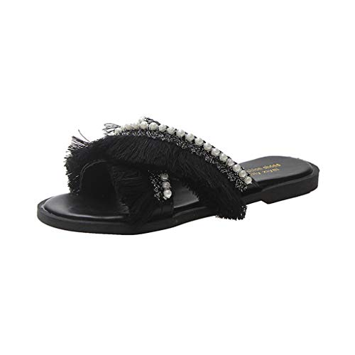 (EDTO Women Comfy Platform Sandal Shoes,Summer Beach Travel Shoes Fashion Sandals Ladies Open Toe Tassel Shoes Black)