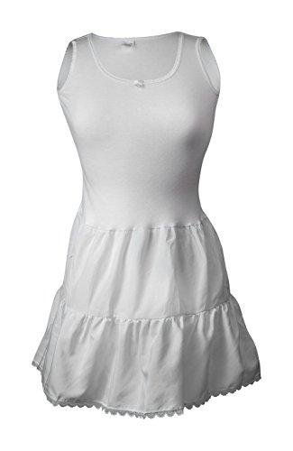 Rossette Girl's White Cotton Top Nylon Bottom Full Slip (14) -