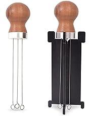 BEIAOSU Kaffenål distributöromrörare, espresso kaffeomrörare trähandtag rostfritt stål manipuleringsverktyg med hållare