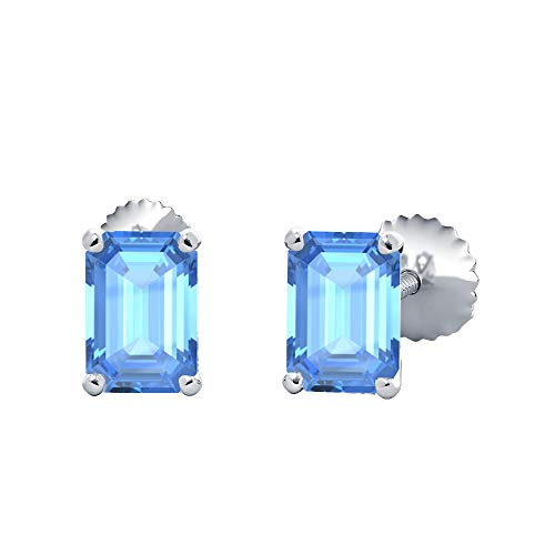 ((10X12MM) Emerald Cut Created Blue Topaz Solitaire Stud Earrings 14K White Gold Over .925 Sterling Silver For Women's)