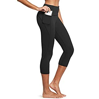 BALEAF Women's High Waisted Yoga Capris w Side Pockets Cropped Leggings Workout Capris Pants Black L
