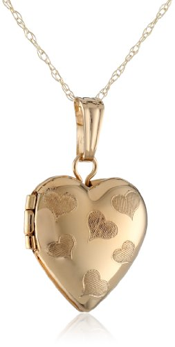 Girls' 14k Yellow Gold Petite Heart with Engraved Hearts Locket Pendant Necklace, 15'' by Amazon Collection