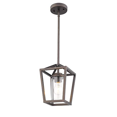 Emliviar Mini Pendant Light, Cage Hanging Light, Oil Rubbed Bronze Pendant Light with Clear Glass Shade, P3033-M1L ()