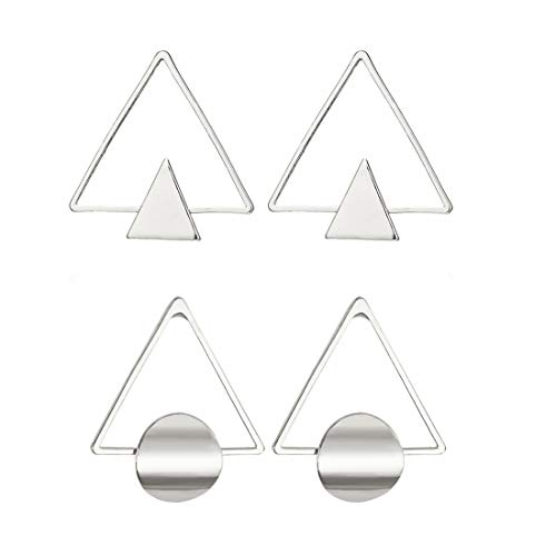 2 Pairs Minimalist Geometric Double Triangle Stud Earrings Hollow Circle Round Stud Earrings Gold Jewelry For Women-silver ()