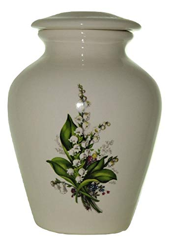 Lily Urn- Cremation Urn or Keepsake for Ashes - Hand Made Pottery (Small 57 Cubic Inches 6 1/2
