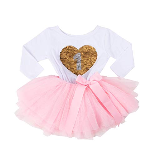 Grace & Lucille Birthday Girl Sequined Dress with Attached Tulle Tutu | Soft & Comfortable Cotton Long Sleeve | Ages 1-6 (12-24 Months)