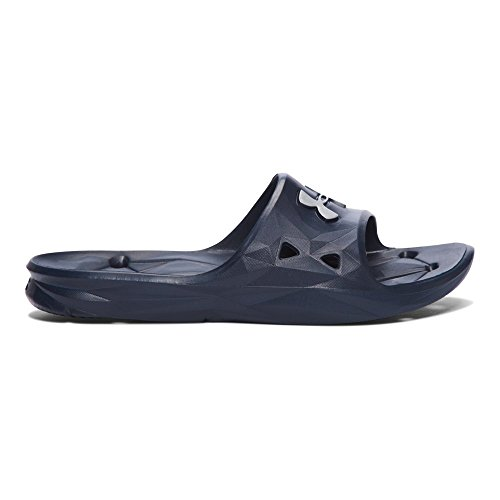 (Under Armour Men's Locker III Slide Sandal, Midnight Navy (410)/Metallic Silver, 12)