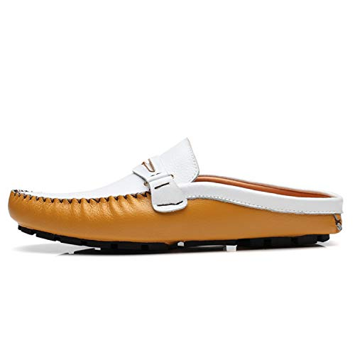 Robin Santiago Men Shoes Casual Loafers Leather Half Slipper Slip On Italian Driving Shoes Yellow