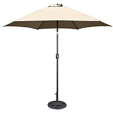 TropiShade 9 ft Bronze Aluminum Market Umbrella with Beige Polyester Cover