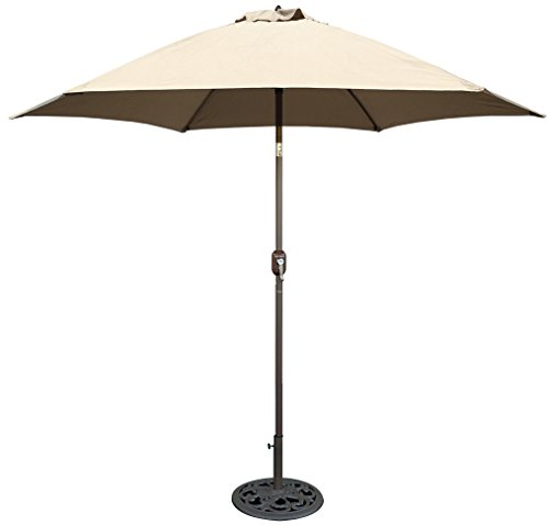 Outdoor Aluminum Base - Tropishade 9 ft Bronze Aluminum Patio Umbrella with Beige Polyester Cover
