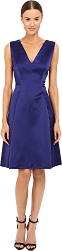 Alberta Ferretti Women's Sleeveless V-Neck Fit and Flare Satin Dress, Deep Blue, 40 - Alberta Ferretti Sleeveless