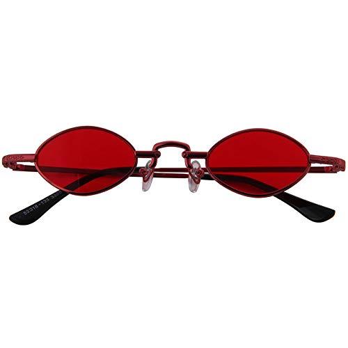 Ogobvck Candy De Chic Les Petites Cycle Red Ovale Lunettes Lens Couleur Soleil Vintage OOqrCwTx