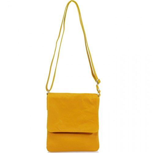 Cross Pouch Body Women Flap Leather Key Bags Phone Vera Holder Over Ladies Soft Pele Italian Yellow Small Z48Tq