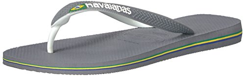 Havaianas Mens Brazil Mix Sandal Flip Flop Steel Grey/White/White ZeKuqj