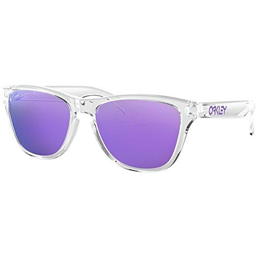 Oakley Youth Boys OJ9006 Frogskins XS Round Sunglasses, Polished Clear/Violet Iridium, 53 mm (Oakley Sunglasses Kids Polarized)