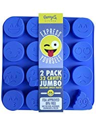JUMBO sized Silicone EMOJI Molds for Baking Chocolate Candy Cookies Soap Ice by PennyCo Kitchen - 32 Cavity 2 Pack Set