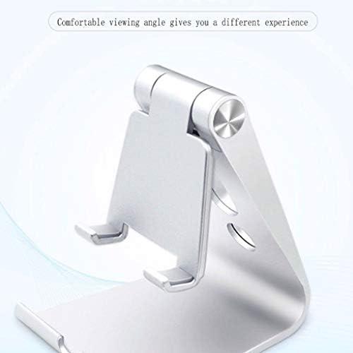 KHFFH 携帯電話ホルダー- 寝室、オフィス、浴室のための調節可能な怠zyなブラケットが付いている移動式携帯電話の立場のホールダーの複数の角度携帯電話の立場 (Color : Silver, Size : 9x7.3x10cm)