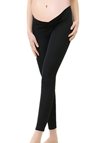 Low Rise Maternity Pants (William & Winnie Maternity Pregnant Leggings Seamless Elastic Low Waist Under The Belly Pants(Black-S))