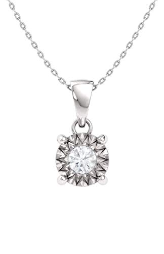 Diamondere Natural and Certified Diamond Miracle Illusion Petite Necklace in 10k White Gold | 0.04 Carat Round Diamond Pendant with Chain ()