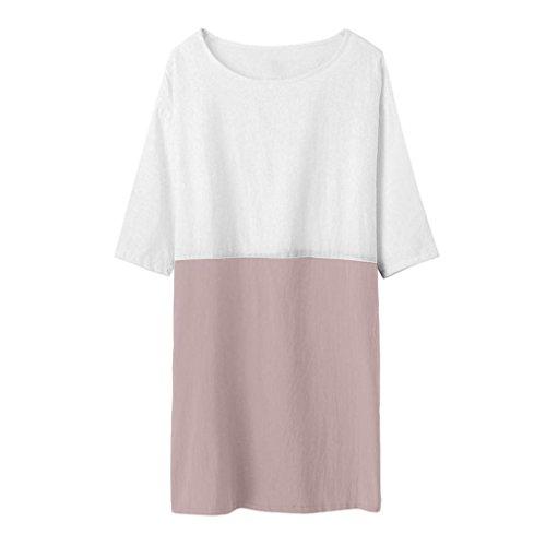 avec Blouse Poches Shirt Manches Chemises Linge 1 Tunique Longue Robe Coton Chic de Tops Patchwork Rose Tee Femme 2 wxaXPqWIY