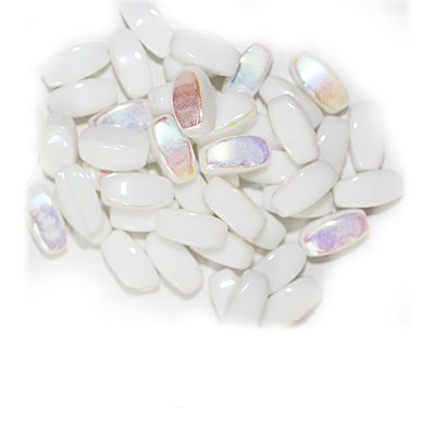 White Iris Flat Oval Czech Pressed Glass Beads pack of 50