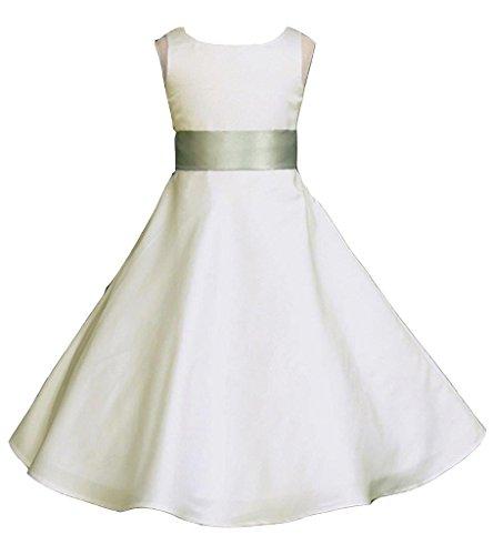 Pink Promise Wedding Pageant Ivory A-Line Matte Satin Jr. Bridesmaid Flower Girl Dress, Ivory/Sage, 6