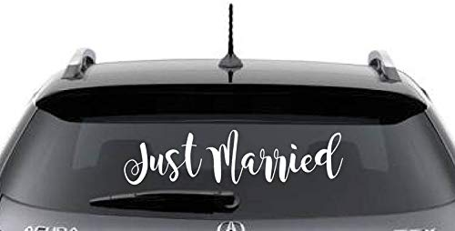 (CELYCASY Just Married Wedding Decal Window Cling)