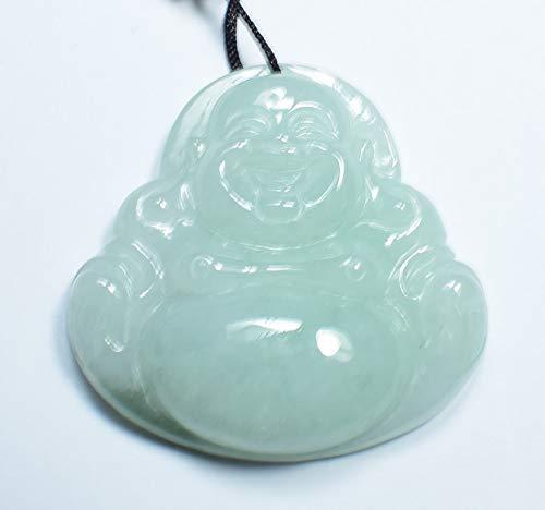 gojade Certified Light Green Natural A Jade Jadeite Pendant Buddha God 开心佛 702530