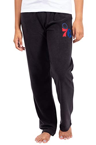 Ultra Game Women's NBA Sleepwear Super Soft Plush Pajama Loungewear Pants, Philadelphia 76ers, Black, Small