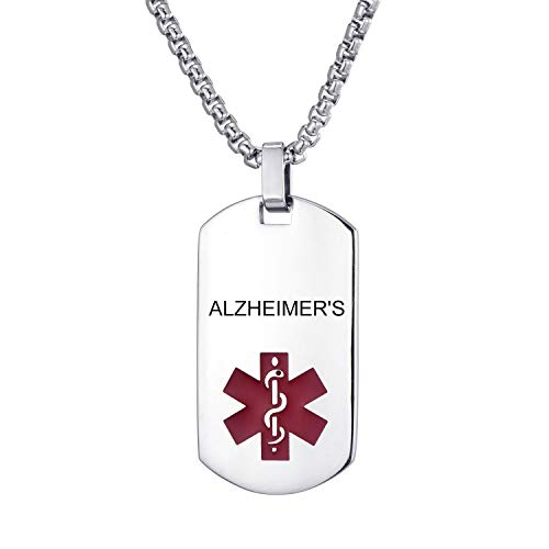 LMXXV Alzheimer's Medical Alert ID Military Style Quality Stainless Steel Dog Tag Pendant Necklace for Unisex,24