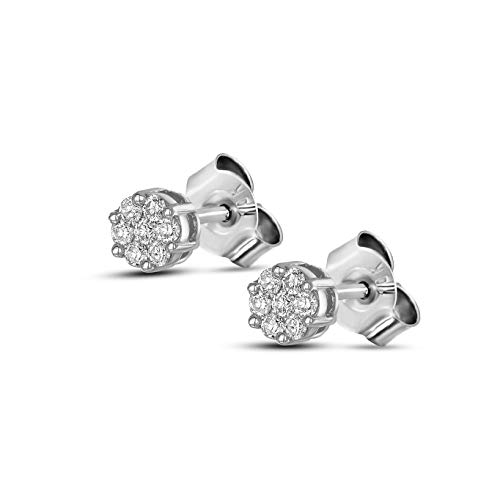 100% Pure Diamond Earrings 1/8ct IGI Certified Lab Grown Diamond Cluster Stud Earrings For Women Lab Created Diamond Earrings SI-GH Quality 10K Gold Real Diamond Stud Earring (Jewelry Gifts For Women)