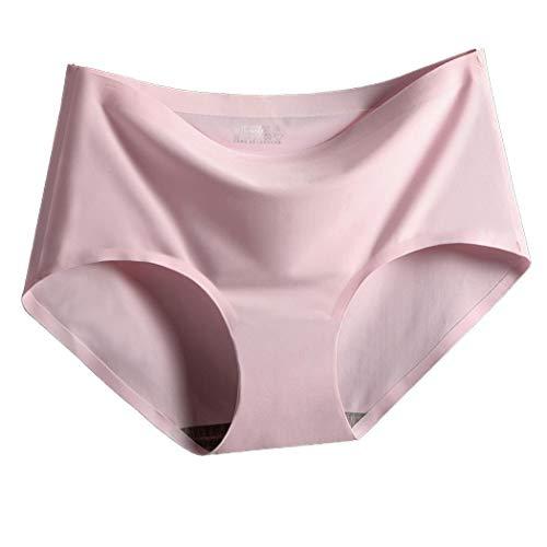 Xixou Women Casual Solid Elastic Medium Waist Slim Briefs Briefs Dark Red
