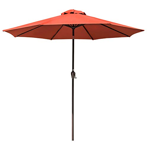 Sundale Outdoor 10 Ft Sunbrella Canopy Patio Market Umbrella Garden Aluminum Umbrella with Crank and Auto Tilt, Terracotta