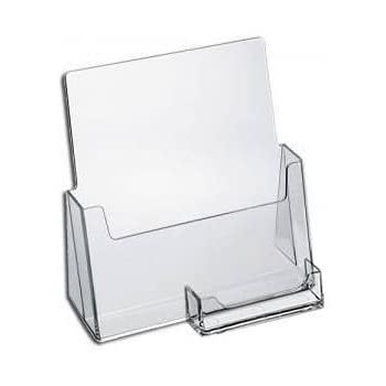 Amazon sourceone premium brochure holder for 85 booklet sourceone premium brochure holder for 85 booklet with business card container clear acrylic colourmoves