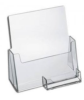 "SourceOne Premium Brochure Holder for 8.5"" Booklet - with Business Card Container - Clear Acrylic Countertop Organizer"
