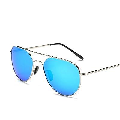 LXKMTYJ Rétroviseur conducteur confort de conduite Chosho Lunettes Noires lunettes polarisées de la personnalité, de l'argent fort Mercure Blue Toad
