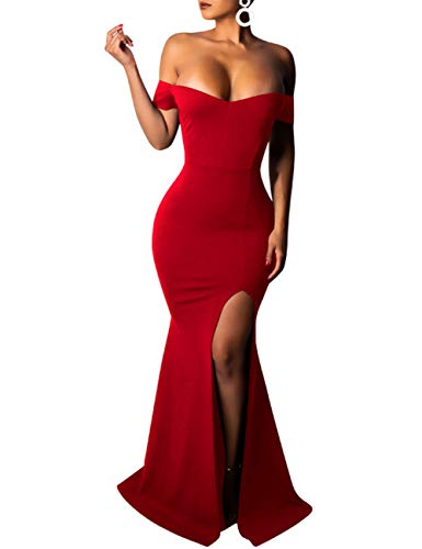 (PARTY LADY Womens Strapless Asymmetric Slit Front Wedding Evening Party Maxi Dress Size L Wine Red)