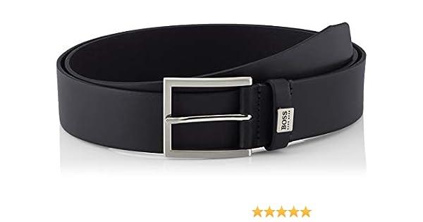 Hugo Boss 50386210 Sonio Metal Logo Black Leather Belt