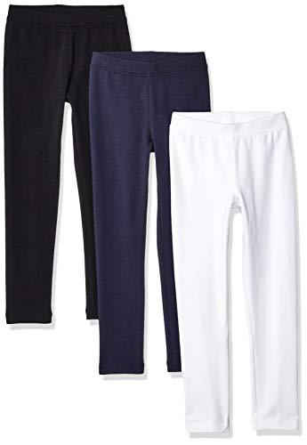Amazon Essentials    Girls' 3-Pack Leggings, black/White/Navy blazer 2T