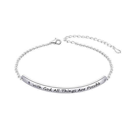 "- SILVER MOUNTAIN Sterling Silver Engraved Inspirational Adjustable Bracelet ""With God All Things are Possible"" Gift for Her, Women, Friendship"