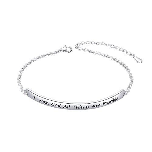 - SILVER MOUNTAIN Sterling Silver Engraved Inspirational Adjustable Bracelet