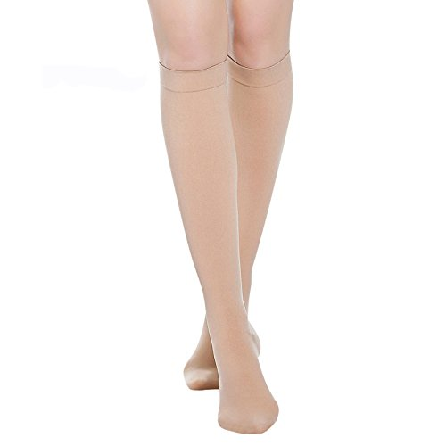 PPXRORO Knee High Compression Socks for Men & Women. Edema, Varicose Veins, Travel, Pregnancy, Medical Nursing (20-30mmHg) BEST Compression Stockings.(Small, Nude-Closed Toe)