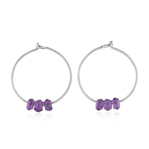14K White Gold Natural Amethyst Beads Hoop Earrings For Women (12 MM) (white-gold, amethyst)