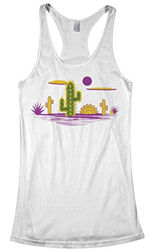 Cactus Desert Graphic | Abstract Summer Shirt Women's Racerback Tank Top | Large, White
