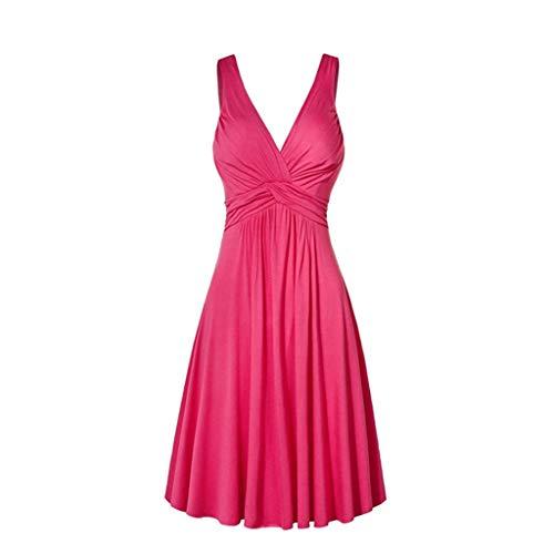 BAOHOKE Summer Sleeveless Plus Size Pleated Wrap Midi Prom Dance Dresses for Women,Casual Elegant Halter Tank Tops Dress(Pink,XXXXL)