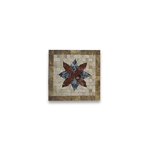 Stone Center Online Floral Noce 6x6 Marble Mosaic Border Corner Tile Polished